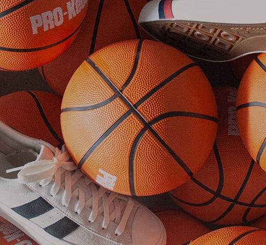 Basketballs and Pro-Keds shoes.